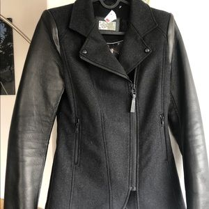 NEW MACKAGE Leather Wool Jacket S Asymmetrical